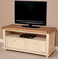 Phoenix Shabby Chic Rustic Oak and Painted TV + DVD Cabinet with Drop-Down Door