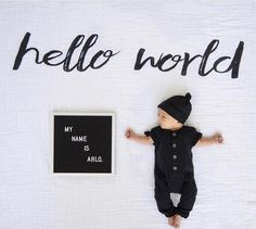 "Brand new with our ""Hello World"" blanket! It doesn't get any sweeter than this ✨ @domoniquedd"