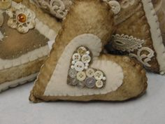 Most of these shown are bigger, about HAND size hearts that I'm selling individually in my booth at Stars. Adding some *tea* stained vintage lace, felt and quilt batting. *I don't use a…