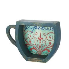 by Accent Plus Weathered and welcoming, this fantastic coffee cup shelf is the perfect finishing touch for your kitchen wall. The blue wooden frame is lined with a vintage espresso graphic, and you can display this shelf solo or use it to showcase other decor accents.