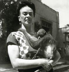 Frida Kahlo & pet monkey.
