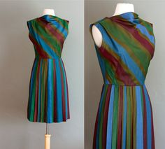 60s S Rainbow Striped Reverse Pleated Dress by flourclothing, $65.00