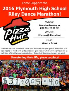 Come to the Plymouth Pizza Hut this evening anytime between 5-8 to support Riley's Hospital For Children! This year is the 5th year that PHS will be hosting a dance marathon and our goal is to raise $30,000 for the kids! Riley Dance Marathon Executive Board members will be serving you this evening and we will be able to keep all tips and a portion of all buffets ordered tonight. (Attached is the fundraiser's flyer) #PHSDM_FTK #PCSCweCARE