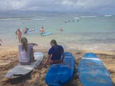 We were lucky to get the girls surf lessons from Buttons Kaluhiokalani before he passed away.
