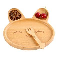 Baby Sub-grid Plate Wooden Cartoon Cute Rabbit Tray Solid Wood Dessert Plate Creative Pizza Plate Creative Pizza, Disposable Nappies, Baby Bamboo, Baby Plates, Dessert Tray, Eco Baby, Wooden Plates, Cute Desserts, Baby Feeding