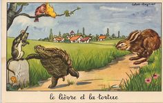 "La Fontaine's Fable: ""Le Lièvre et la Tortue"" (""The Hare and the Tortoise"") 