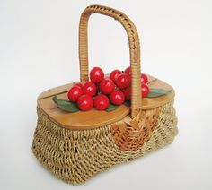 Vintage 50s Off to the Market - Red Cherries Woven Basket Purse Hand Bag by HillbillyFilly www.hillbillyfilly.etsy.com
