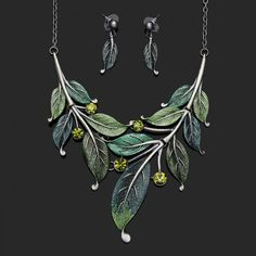 Gold Princess Green Leaf Necklace Earring Jewelry Sets