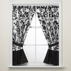 damask valance in black & white floral pattern (curtain rod not