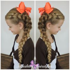 Ashton with a big side Dutch braid. LOVE! She is wearing a lovely bow from The Hair Bow Fairy.