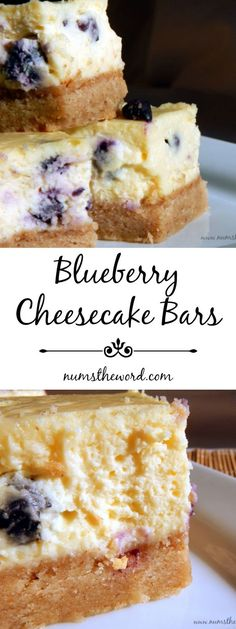 This easy cheesecake is great for beginners and having it as a bar is easy to eat at a gathering! Substitute with your favorite berry for a nummy treat! Easy Blueberry Cheesecake Recipe, Brownie Cheesecake Bites, Easy Blueberry Desserts, Cheescake Bars, Rasberry Cheesecake, Delicious Desserts, Blueberry Bars, Easy Cheesecake Recipes, Churro Cheesecake
