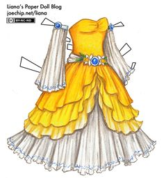March Birthday Dress with Daffodils and Aquamarine in Yellow and White | Liana's Paper Dolls Birth flower is the daffodil, and the birth stone is aquamarine,
