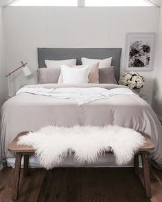 Love this beautiful grey and pink bedroom!