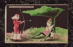 Elf Archer Frog Apple on Head Wearing 'Celluloid' Collars Cuffs Paper Trade Card #Celluloid