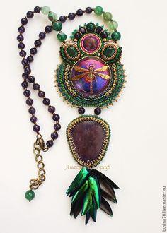 Купить Кулон Золотая стрекоза (аметист, лепидолит, зеленый) - зеленый, богемское стекло, стрекоза, стрекозы