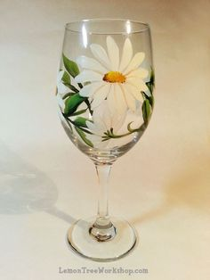 Daisy Hand Painted Wine Glass by LemonTreeWorkshop on Etsy