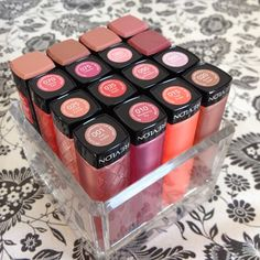 I have almost every color. Goes on smooth like chap stick and the color stays for about an hour. Reapplying is easy though. just think of it as chapstick with color. Revlon Lip Butter, Revlon Lipstick, Revlon Makeup, Lipsticks, Mac Lashes, Rangement Makeup, I Believe In Pink, Eyeshadow Brushes, Makeup Storage