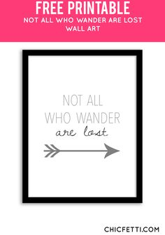 Free Printable Not All Who Wander Are Lost Art from Chicfetti - easy wall art di. - Free Printable Not All Who Wander Are Lost Art from Chicfetti – easy wall art diy - Simple Wall Art, Diy Wall Art, Wood Wall Art, Easy Wall, Diy Art, Wood Walls, Printable Pictures, Printable Quotes, Printable Wall Art