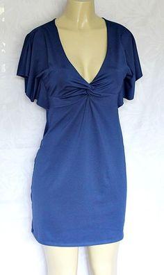 EUC BCBGeneration Mini Dress Blue Short Sleeve M Twist V Neck A line BCBG #BCBGeneration #VNeck #Any