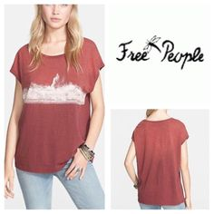 Free People We The Free Tee Boxy and oversized graphic tee featuring a short sleeve and rounded neck. Throw on with a pair of cutoffs or over a bikini for an effortless look.   *We The Free   *Perfectly distressed, all-American styles.   *100% Cotton *Machine Wash Cold *Color:  Raisin Free People Tops Tees - Short Sleeve
