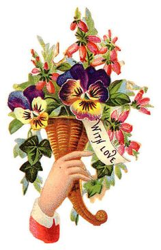 """""""With Love"""" ~ Victorian hand with flowers scrap"""