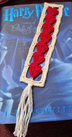 Seven Hearts Bookmark ~*free pattern link*~ - CROCHET