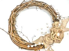 grapevine wreath with deco mesh | rose and another flower and attached them all to a grape vine wreath ...