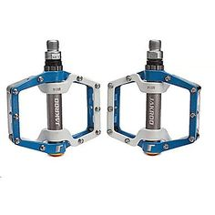 JAKROO Antiskid Aluminum Alloy Bearings Mountain Bike Blue and White Pedals * You can find more details by visiting the image link.