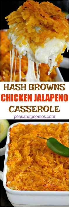 CHICKEN JALAPEÑO CASSEROLE IS LOADED WITH SPICY JALAPEÑOS, SWEET CORN, TENDER CHICKEN, LOTS OF CHEESE AND TOPPED WITH A THICK LAYER OF HASH BROWNS.