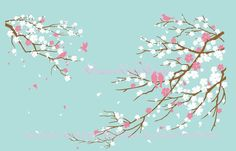 Hey, I found this really awesome Etsy listing at https://www.etsy.com/listing/185764015/cherry-blossoms-wall-decal-wall-sticker