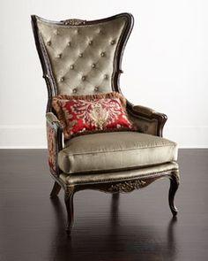 H84HX Massoud Paley Damask Wing Chair