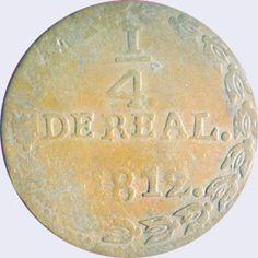 Pieza mpc0.25r-ba01 (Reverso). Moneda de la Provincia de Caracas. 1/4 Real. Diseño B, Tipo A. Fecha 1812