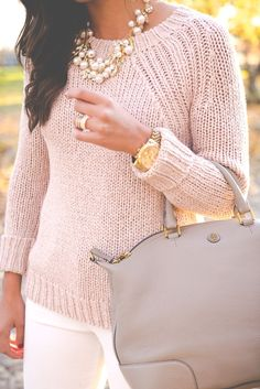 blush pink sweater, fall knit sweater, fall preppy outfit, preppy fall outfit, pearl statement necklace, ivory corduroys, gray booties, tory burch slouchy satchel // grace wainwright from a southern drawl
