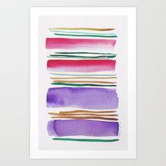 Lines & Color Block Series October 2018 Watercolor Art Paintings, Modern Art Paintings, Modern Art Prints, Watercolor Print, Pastel Watercolor, Watercolor Artists, Abstract Canvas Art, Canvas Art Prints, Watercolor Dreamcatcher