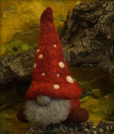 Felted mushroom gnome for Christmas Christmas ornament by Petradi, $28.00