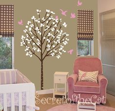 Nursery Wall Decal  Tree decal  girl vinyl decal by secretofthecat, $70.00