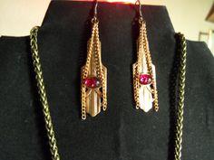 Copper Art Deco Style Earrings. $12.99, via Etsy.