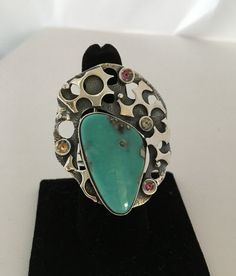 TURQUOISE RING, Handcrafted Ring, Gemstone Ring, Artisan Ring, 925 Sterling Silver , Multi Stone Ring, by AlenaZenaJewelry on Etsy