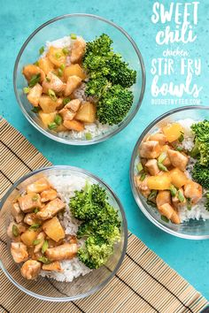 Sweet Chili Chicken Stir Fry Bowls use my favorite formula for keeping weeknight dinners simple and effortless. Make this healthy recipe when you meal prep for week. Pin now to keep with your list of meal prep recipes. Asian Recipes, Healthy Recipes, Easy Recipes, Dinner Recipes, Healthy Meals, Free Recipes, Dinner Ideas, Vegetarian Recipes, Weeknight Meals