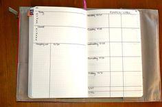 Week schedule bullet journal style in Moleskine Large Notebook