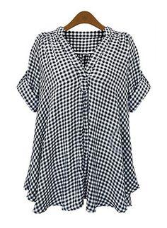 Schottenkaro Lässige Kleidung Baumwolle Leinen V-Ausschnitt kurze Ärmel Hemd (1042770) @ floryday.com