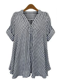Tartán Casuales Algodón Lino Escote en V Manga corta Camisas (1042770) @ floryday.com