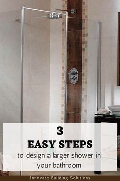 3 EASY STEPS to designing a large shower in a small bathroom. You won't want to miss out on this!   Innovate Building Solutions   #BathroomRemodelingTips #LargeBathroomShower #SmallBathroomDesign   Large shower design   small bathroom ideas   bathroom remodeling for cheap   bathroom product ideas