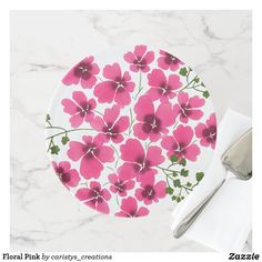 Floral Pink Cake Stand Party Napkins, Kitchen Dishes, Fancy Cakes, Party Accessories, Cake Plates, Artwork Design, Custom Cakes, Let Them Eat Cake, Spring Flowers