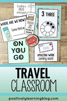 Travel Classroom Decor Theme - Ready to travel around the world? This adventure classroom theme features maps, landmarks, and visuals to lead the way. So much packed into this decor bundle from Positively Learning! #travelclassroom @adventure theme