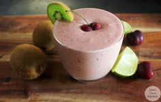 Cherry, Kiwi, and Lime Protein Smoothie | Lexiscleankitchen.com