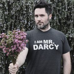 T-Shirt - 'I Am Mr. Darcy' - Grey / Black - Mens Jane Austen Online Giftshop