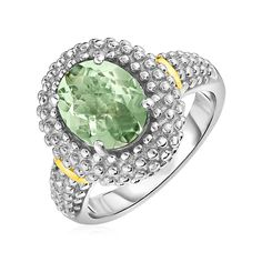 sophisticated halo-style yellow gold & sterling silver ring features a beautiful oval green amethyst. in ring sizes 6 to Amethyst Jewelry, Gemstone Jewelry, Diamond Jewelry, Silver Jewelry, Amethyst Rings, Luxury Jewelry, Body Jewelry, Sterling Silver Rings, Jewels