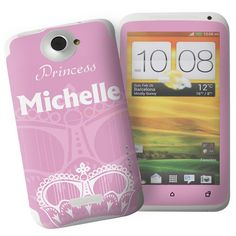 Personalised Pink Crown HTC One X Phone Skin  from Personalised Gifts Shop - ONLY £7.95