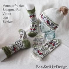 MønsterPakker | BeasStrikkeDesign Knitting Kits, Knitting Socks, Knit Socks, Baby Patterns, Crochet Patterns, Mother Bears, Fox Hat, Lucky Horseshoe, Fingerless Mittens